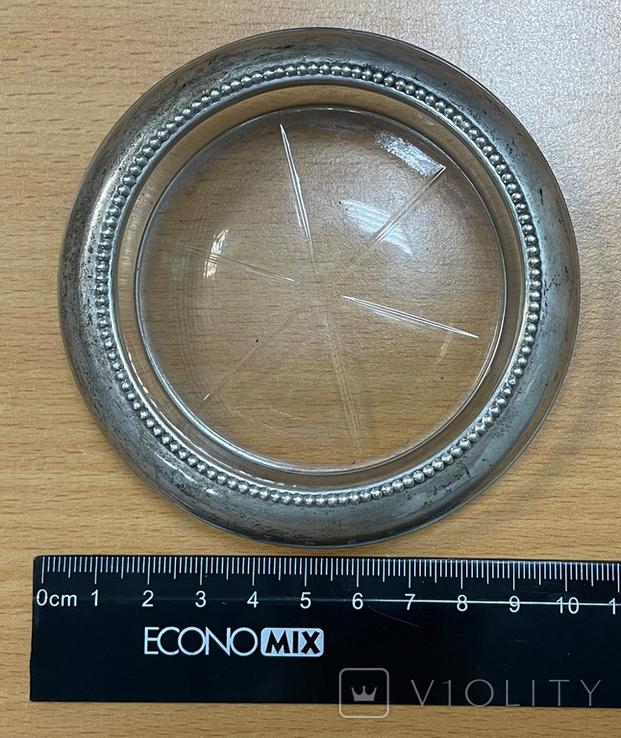 Серебряная пепельница со вставкой из стекла, фото №5