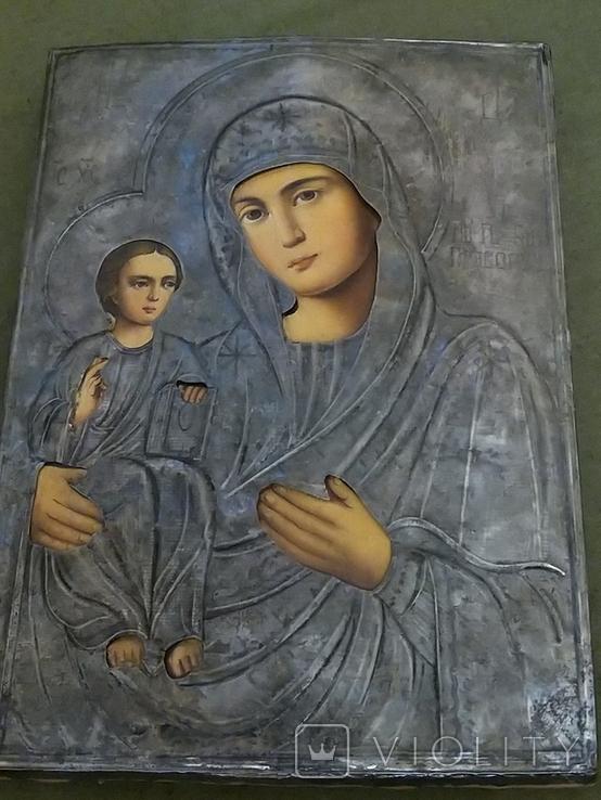 Икона Пресвятая  Богородица праворучица , в серебряном окладе, фото №2