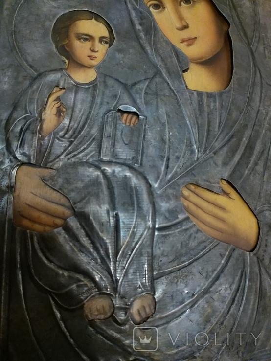 Икона Пресвятая  Богородица праворучица , в серебряном окладе, фото №4