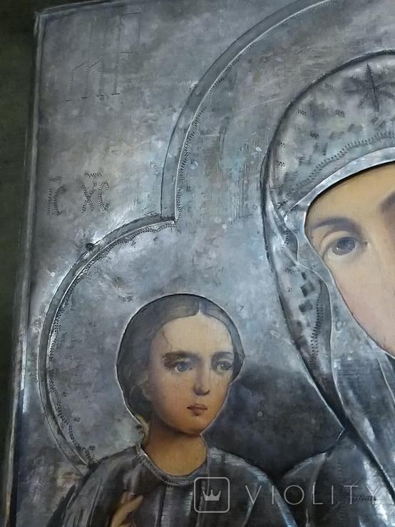 Икона Пресвятая  Богородица праворучица , в серебряном окладе, фото №6