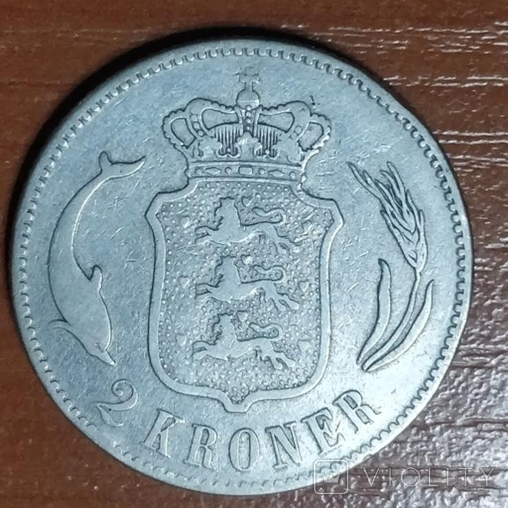 Дания,2 кроны,1875 г., фото №2