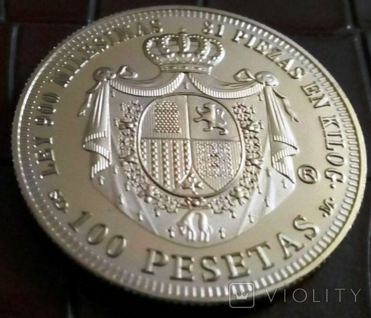 100 песет  1870року  року Іспанія.  магнітна, точна  копія,  позолота 999, фото №3