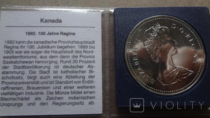 1 доллар 1982 Канада Реджайна Сертификат серебро, фото №5