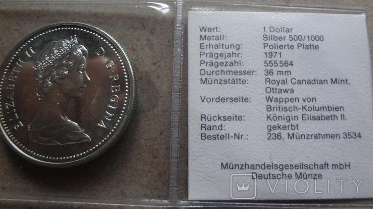 1 доллар 1971 Канада Британская Колумбия Сертификат серебро, фото №5