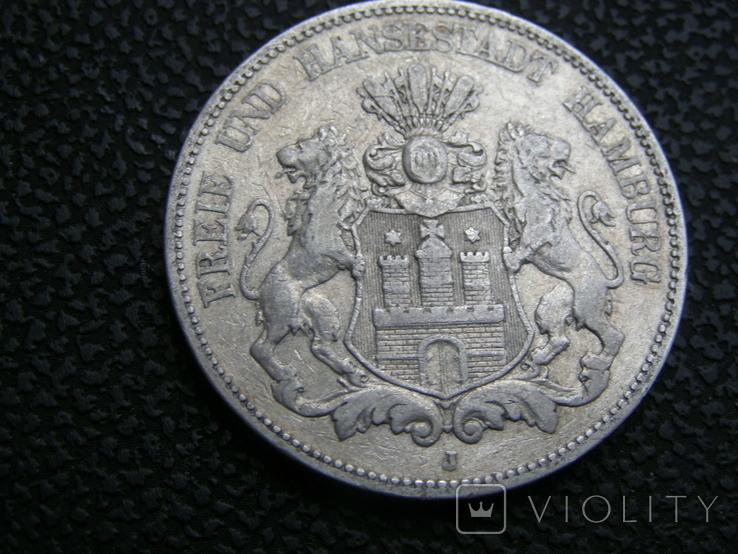 5 марок 1876 J Гамбург, фото №3