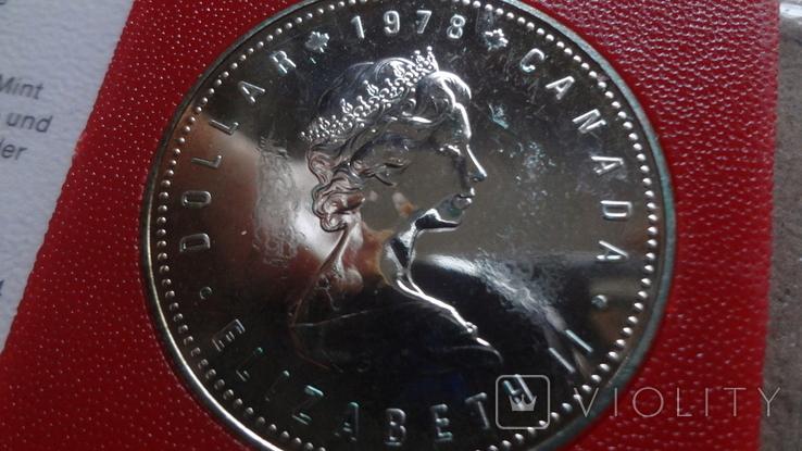1 доллар 1978 Канада Олимпиада Сертификат серебро, фото №7