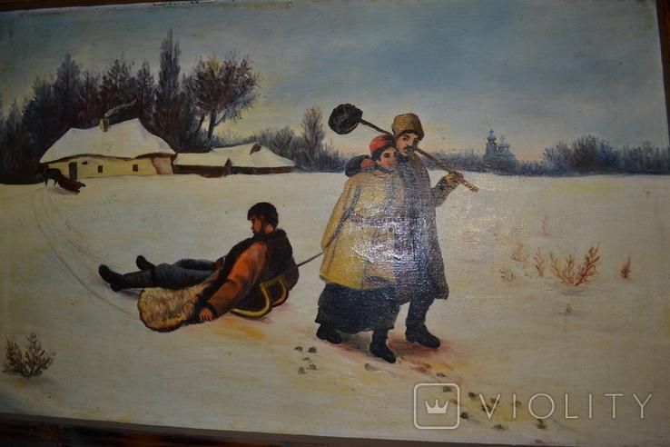 "Картина маслом ""Возвращение кума со святок"", фото №3"