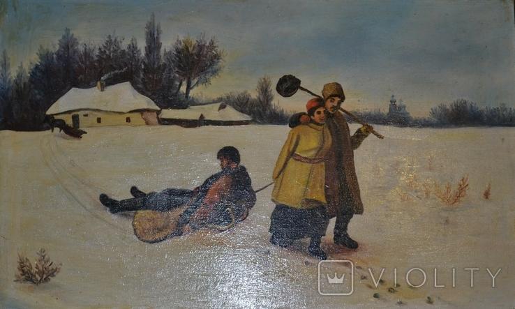"Картина маслом ""Возвращение кума со святок"", фото №2"