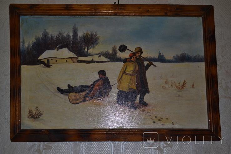"Картина маслом ""Возвращение кума со святок"", фото №6"
