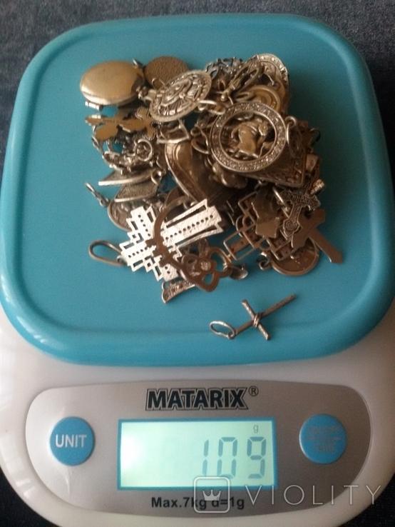 Кулоны серебро 109 грамм, фото №4