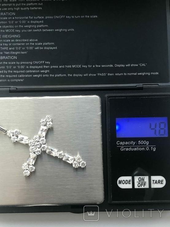 Хрестик з білого золота з камнями, фото №4