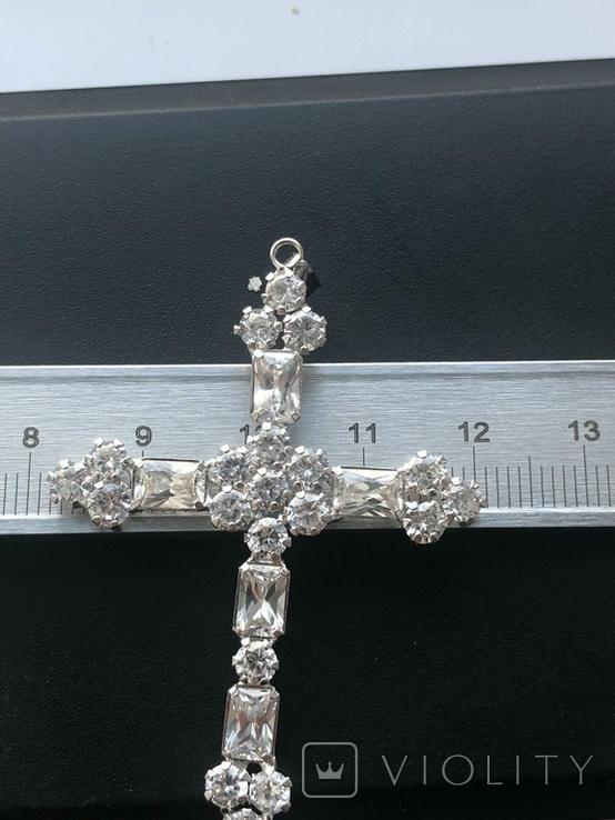 Хрестик з білого золота з камнями, фото №5