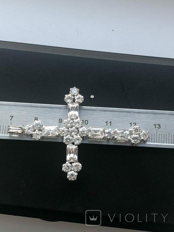 Хрестик з білого золота з камнями, фото №7