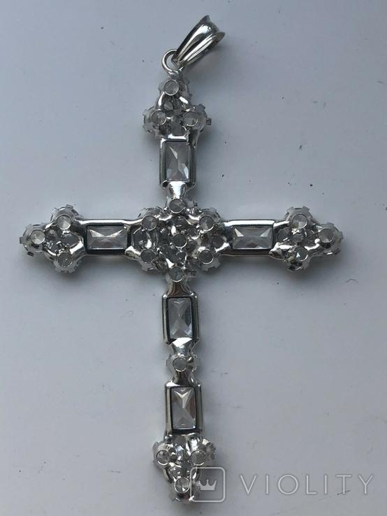 Хрестик з білого золота з камнями, фото №8
