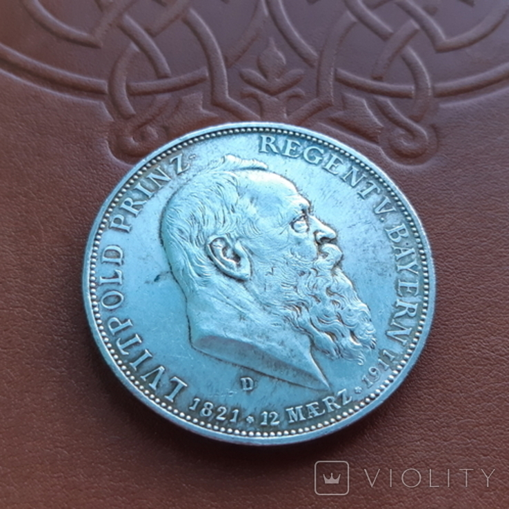 5 марок 1911 Бавария, фото №2