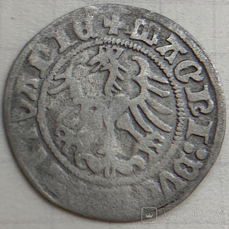 Монета Литовский полугрош 1513 год, 41АХ по каталогу,серебро, вес 1 гр. Состояние, фото №3