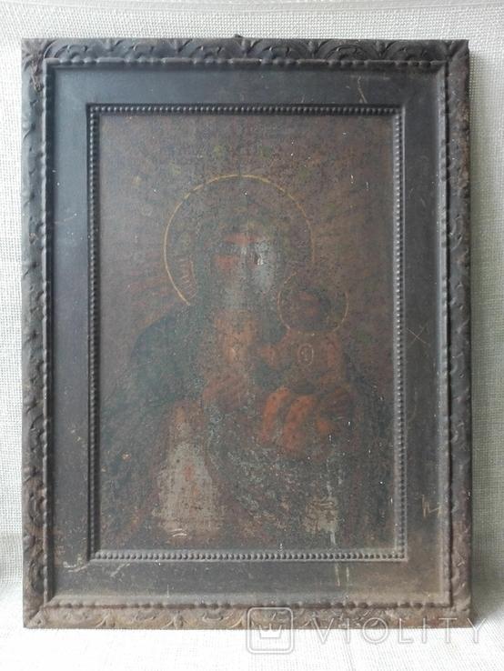 Старинная икона Богородицы на жести, фото №2