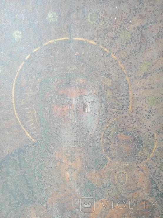 Старинная икона Богородицы на жести, фото №4