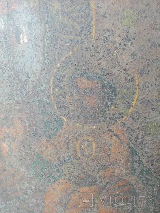 Старинная икона Богородицы на жести, фото №5