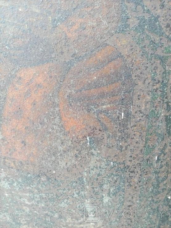 Старинная икона Богородицы на жести, фото №6