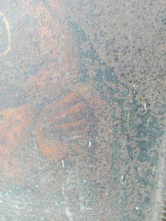 Старинная икона Богородицы на жести, фото №9