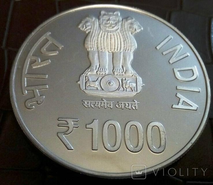 1000 рупій 2015 року ІНДІЯ. Не магнітна, точна копія, посрібнення 999, фото №4