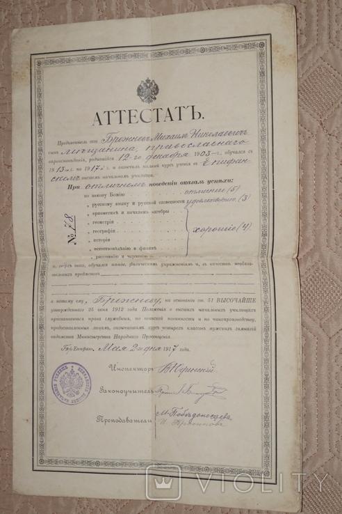 Аттестат Брежнева 1917 год.(Водяные знаки)., фото №3