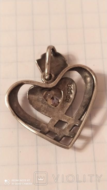 Кулон сердце 925, фото №3