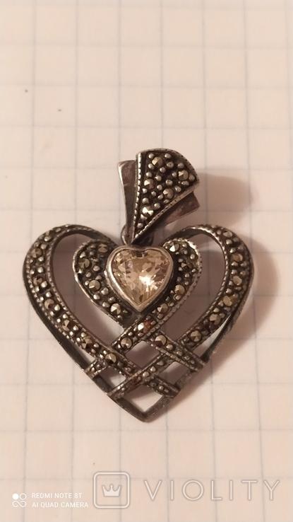 Кулон сердце 925, фото №2