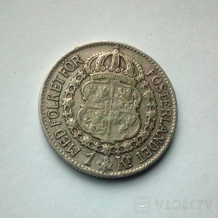Швеция 1 крона 1940 г. - серебро, фото №3
