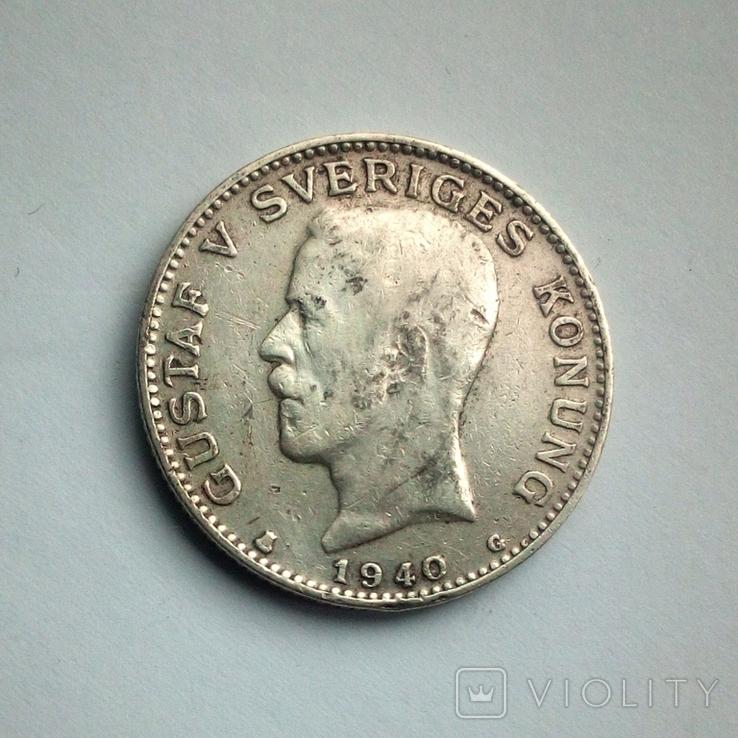 Швеция 1 крона 1940 г. - серебро, фото №4
