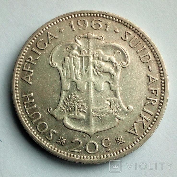 Южная Африка 20 центов 1961 г., фото №2