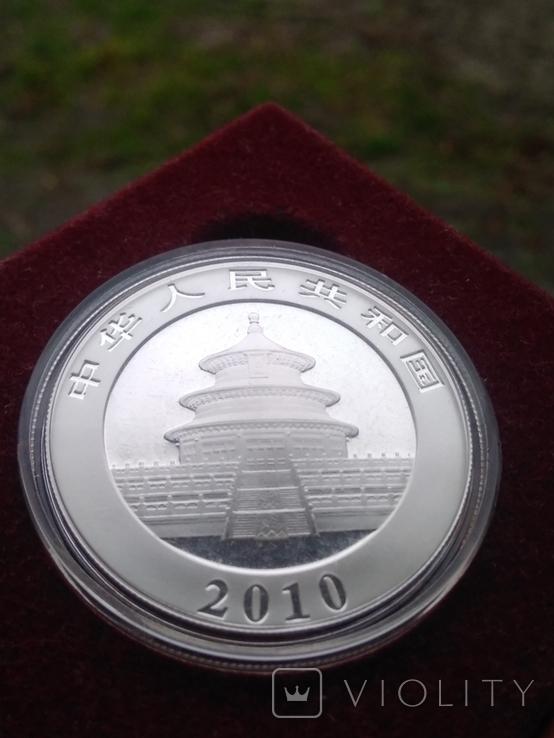 Панда Китай 10 юаней 2010 г. унция серебро 999 пробы , 31,1 гр., фото №3