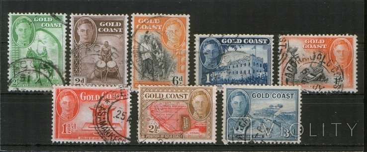 Британские колонии. 1948 Золотой Берег, виды и типы, лот 8 шт.