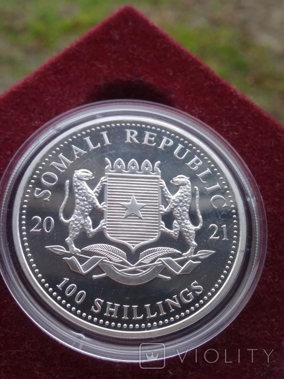 Серебро Слон Сомали 100 шиллингов 2021 г 1oz 999.9 пробы унция Африканский слон, фото №3