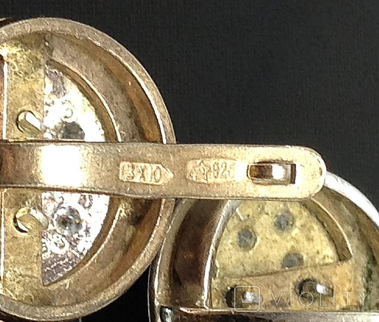 Кольцо, серьги, позолота, цирконы, фото №4