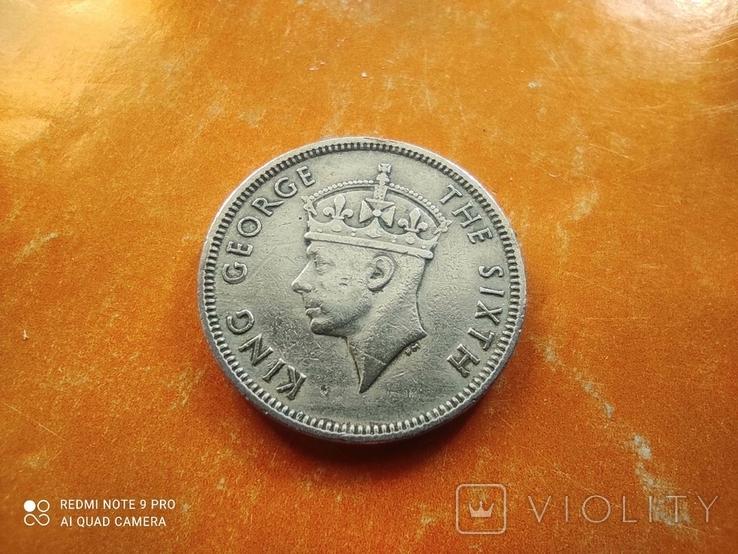 Британский Маврикий 1/2 рупии 1950 Георг VI фауна олень №2, фото №3