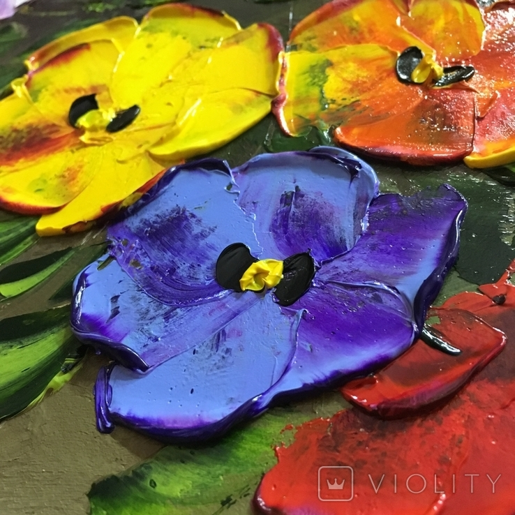 Картина Анютины глазки масло 40х50 см, фото №4