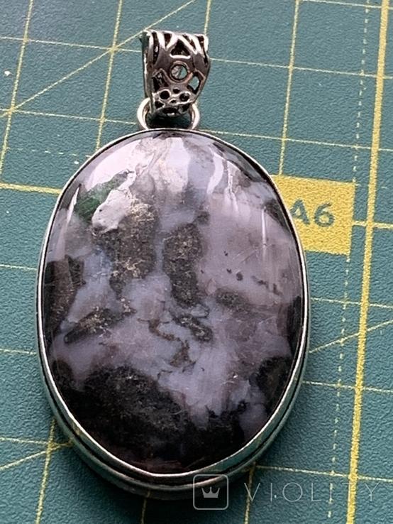 Индийский кулон с натуральным камнем покрытый серебром 925, фото №2