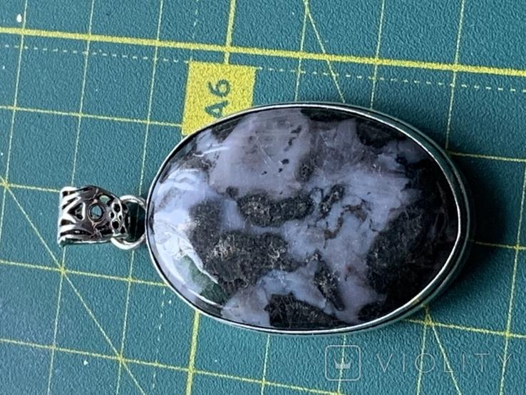 Индийский кулон с натуральным камнем покрытый серебром 925, фото №4