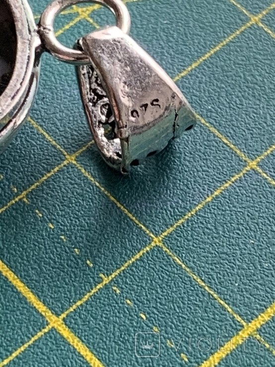 Индийский кулон с натуральным камнем покрытый серебром 925, фото №6