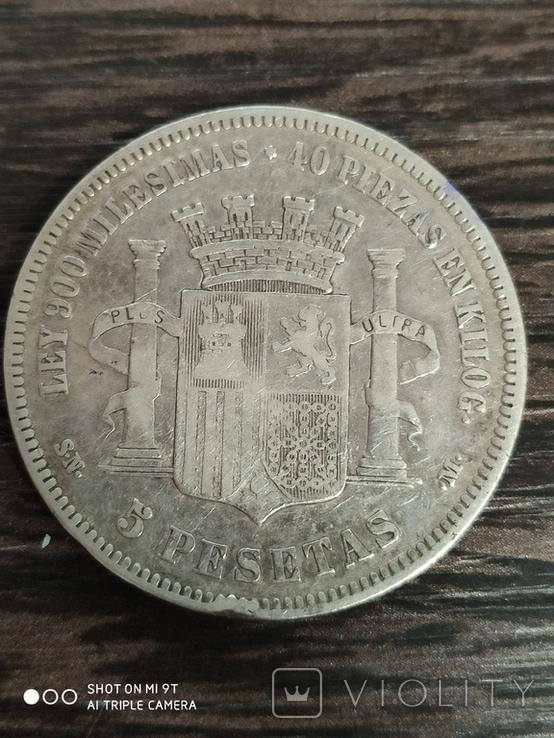 5 песет Испании 1870 г.серебро, фото №3