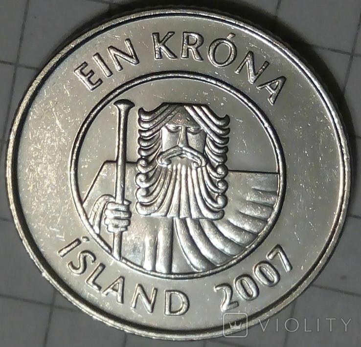 Исландия 1 крона 2007, фото №3