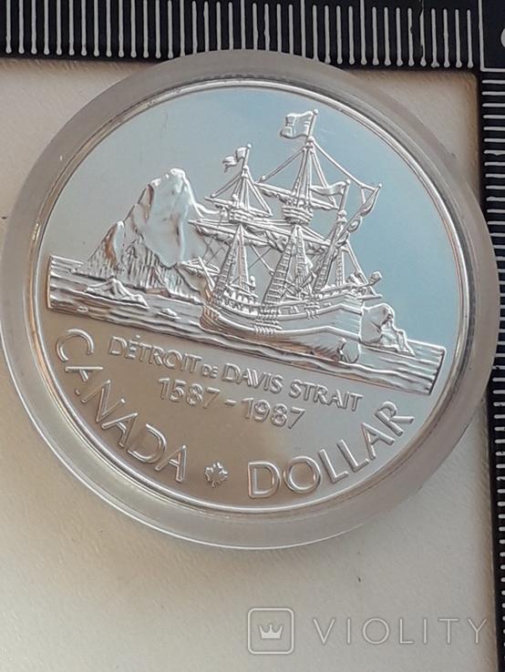 1 доллар, Канада, 1987 г., 400 лет открытию пролива Дейвиса, серебро, 0.500, 23.32 гр., фото №2