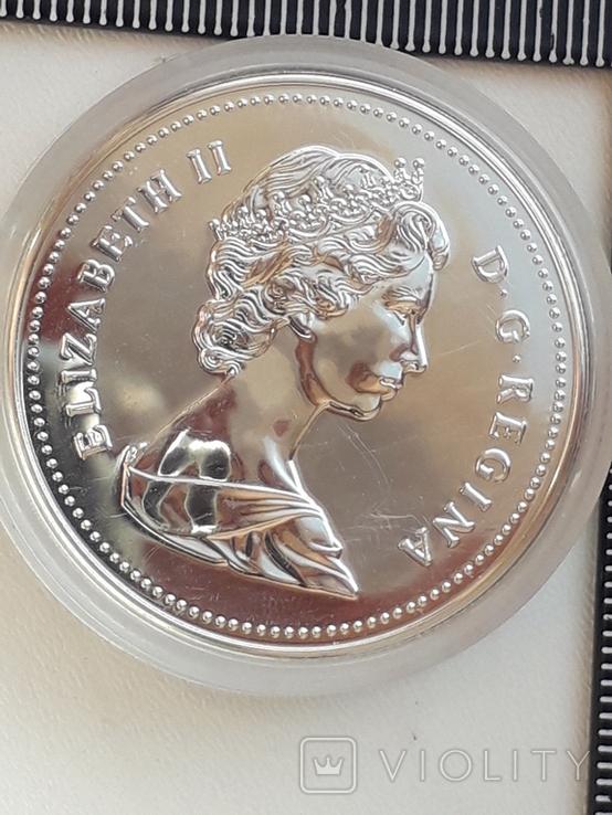 1 доллар, Канада, 1987 г., 400 лет открытию пролива Дейвиса, серебро, 0.500, 23.32 гр., фото №4