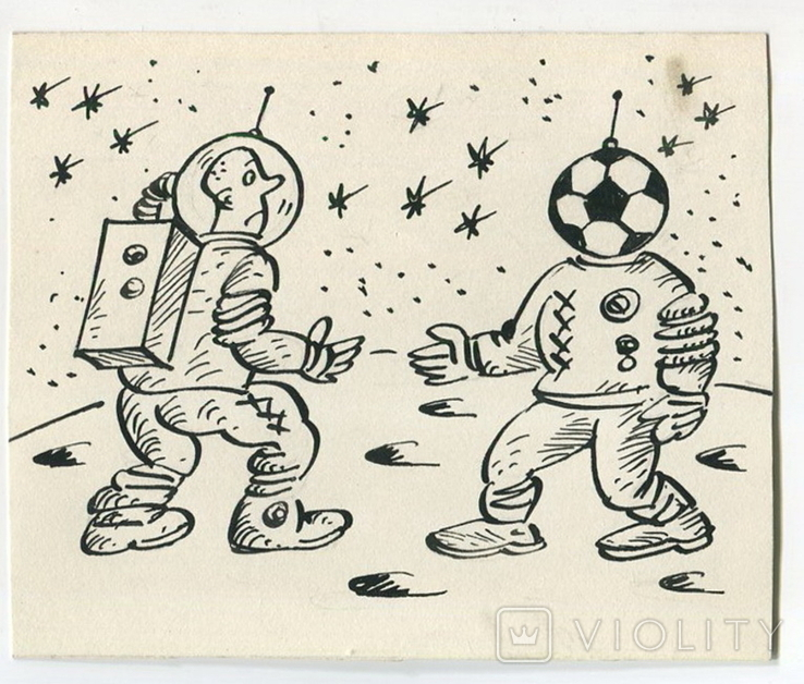 Аркадий Цыкун. Карикатуры футбол. Тушь. 1989г. Одесса. №1, фото №2