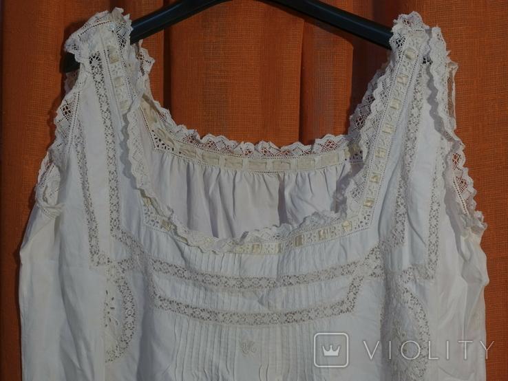 Ночная сорочка 19 век Италия с инициалами, фото №3