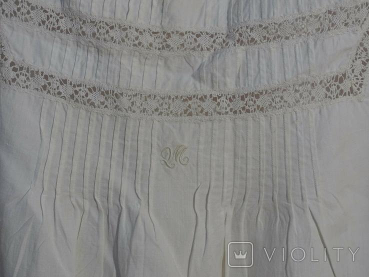 Ночная сорочка 19 век Италия с инициалами, фото №4