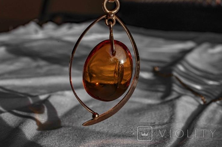 Золотий гарнітур з бурштином., фото №4