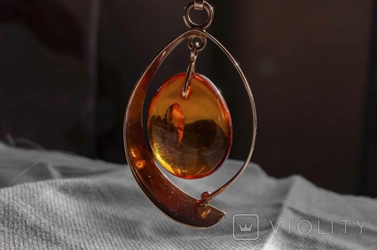 Золотий гарнітур з бурштином., фото №5